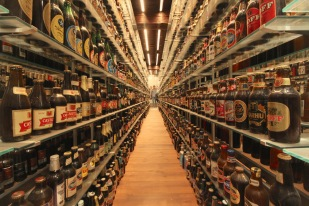 Carlsberg Brewery's world record collection of unopened beer bottles.